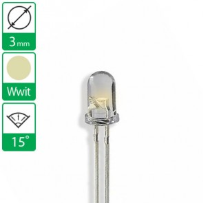 Warm Witte LED 15 graden 3mm