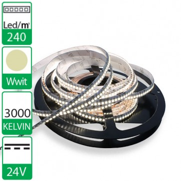 1m 240 Led's flexibele LED strip 24V WARM wit 3000K