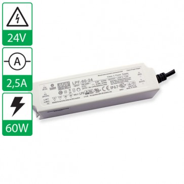 24V 2,5A 60W Mean well voeding LPF-60-24