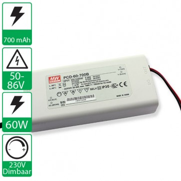 700mA 50-86V 60W Dimbare Mean well voeding PCD-60-700B