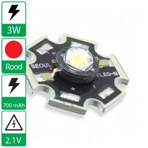 3 watt P4 Seoul Semiconductor LED rood op ster