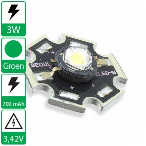 3 watt P4 Seoul Semiconductor LED groen op ster