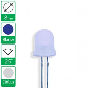 Blauwe LED 25 graden 8mm diffuus