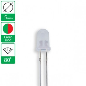 2 pin duo LED groen/rood 80 graden 5mm