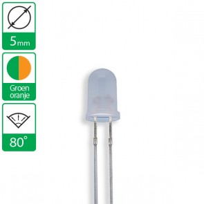 2 pin duo LED groen/oranje 80 graden 5mm