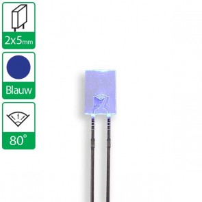 Blauwe LED 80 graden 2x5mm