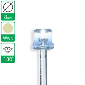 Warm witte LED 180 graden 8mm