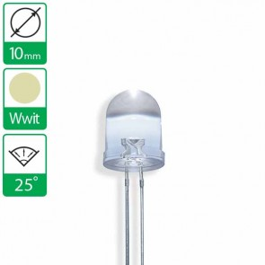 Warm witte LED 25 graden 10mm
