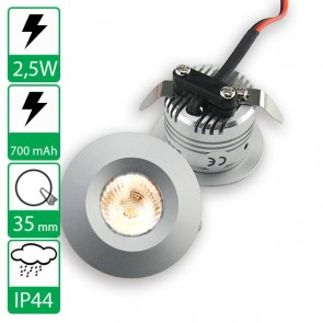 2,5W power LED spot rond warm wit, stroomgestuurd 700 mA