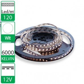 1m 120 Leds 12V SMD flexibele LED strip Wit 6000K