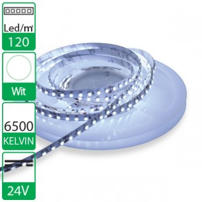 1m 120 Led's flexibele LED strip 24V wit 6500K