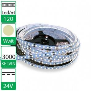 1m 120 Led's flexibele LED strip 24V WARM wit 3000K