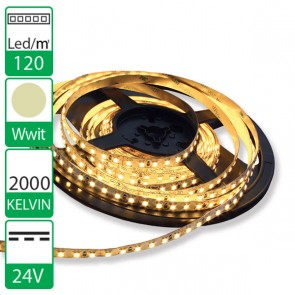 1m 120 Led's flexibele LED strip 24V Warmwit 2000K