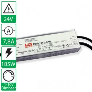24V 7,8A 185W Mean well voeding met power factor correctie HLG-185H-24B, 1-10V dimbaar