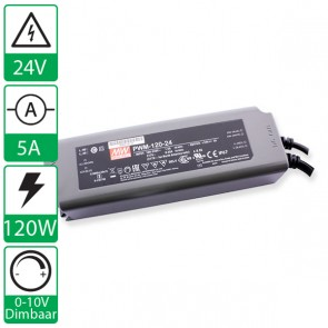24V 5A 120W Mean well voeding PWM-120-24, 0-10V dimbaar