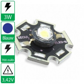 3 watt P4 Seoul Semiconductor LED cyaan op ster