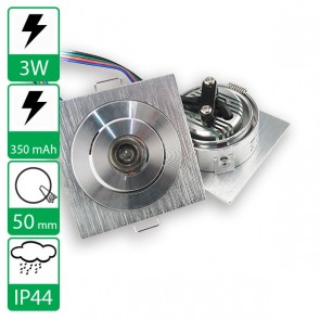 3W RGB power LED spot vierkant kantelbaar, stroomggestuurd