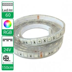 150cm 60Leds flexibele ledstrip 24V RGB