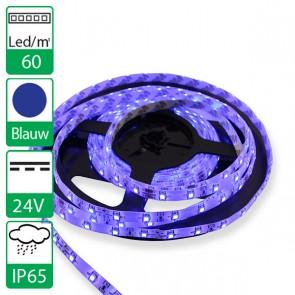 1m 60 Leds 24V SMD flexibele LED strip blauw, spat-waterdicht IP65