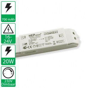 700mA 18-26V 20W Dimbare HEP voeding LLTC20W700LR-Z