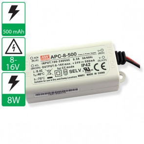 500mA 8-16V 8W Mean well voeding APC-8-500