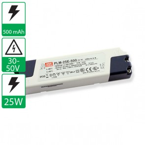 500mA 30-50V 25W Mean Well voeding PLM-25E-500