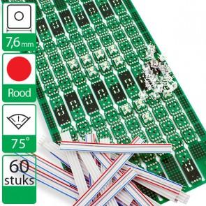 60 rode Everlight hyperflux LEDs + PCB + kabels