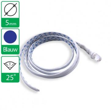 12v Blauwe LED 25 graden 5mm aan snoer