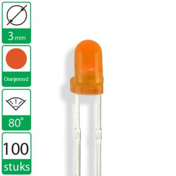 100 Oranje/rode  LEDs 80 graden 3mm