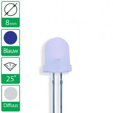 Blauwe LED 25 graden 8mm diffuus