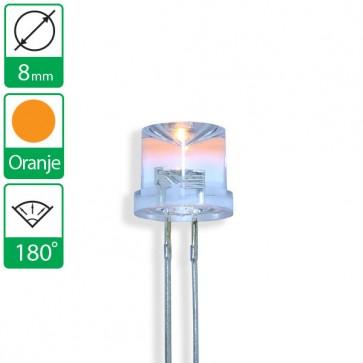 Oranje LED 180 graden 8mm