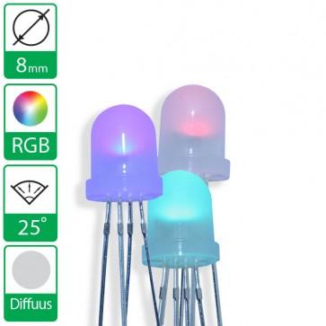 Full color LED 25 graden 8mm diffuus CC