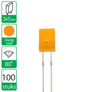 100 Oranje/Rode LEDs 80 graden 2x5mm