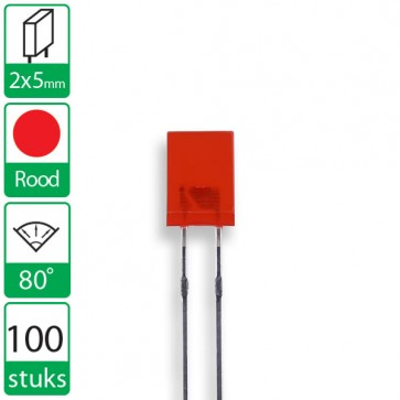 100 Rode LEDs 80 graden 2x5mm