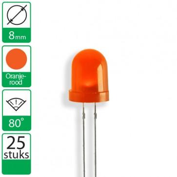 25 Oranje/rode  LEDs 80 graden 8mm