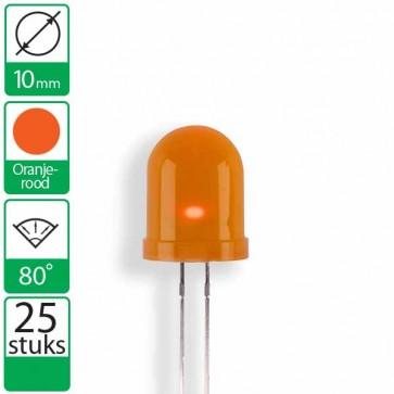 25 Oranje/rode  LEDs 80 graden 10mm