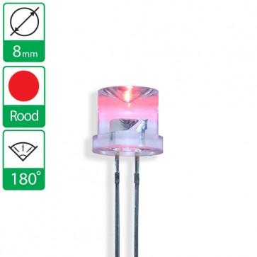Rode LED 180 graden 8mm