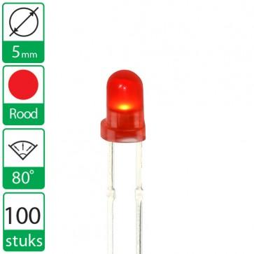 100 Rode LEDs 80 graden 5mm