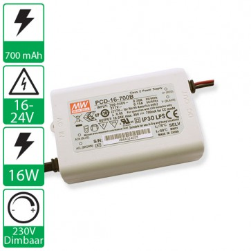 700mA 16-24V 16W, 230v dimbare voeding PCD-16-700B