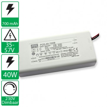 700mA 34-57V 40W Dimbare Mean well voeding PCD-40-700B