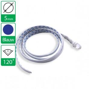 12V Blauwe LED 120 graden 5mm aan snoer