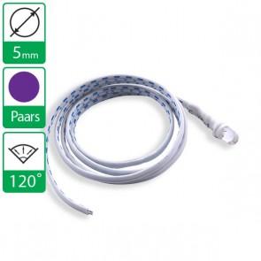 12V UV/Paarse LED 120 graden 5mm aan snoer