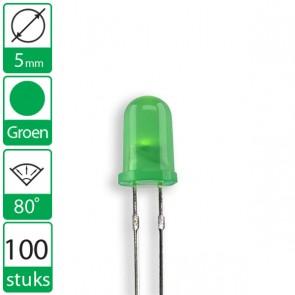100 Groene LEDs 80 graden 5mm