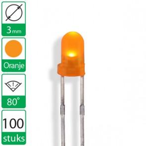 100 Oranje  LEDs 80 graden 3mm