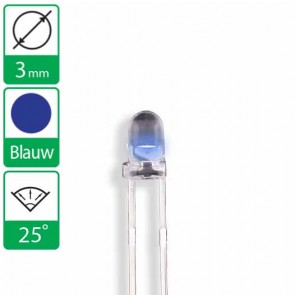 Blauwe LED 25 graden 3mm
