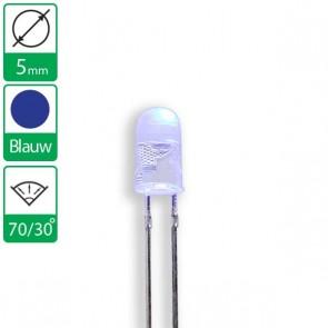 Blauwe ovale LED 70/30 graden 5mm
