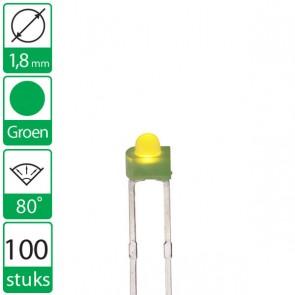 100 Groene LEDs 80 graden 1,8mm