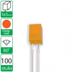 100 Oranje/rode  LEDs 80 graden 5x5mm
