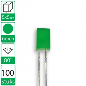 100 Groene LEDs 80 graden 5x5mm