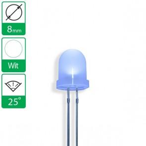 Witte LED 25 graden 8mm diffuus